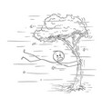cartoon man holding tree in strong wind or vector image vector image