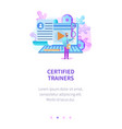 certicied trainers teacher with book in hand talk vector image