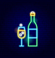 champagne bottle glass neon sign vector image