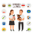 children boy and girl with pets cat and dog vector image