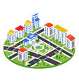 city district - modern colorful isometric vector image
