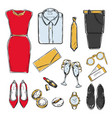 colored doodle evening wardrobe collection vector image vector image
