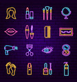 cosmetics neon icons vector image