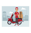 delivery service at city vector image vector image