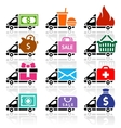Delivery truck flat icons set vector image vector image