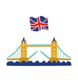 flat tower bridge united kingdom union jack vector image vector image