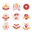 fresh bbq emblems collection vector image vector image