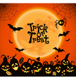 Halloween background of cheerful pumpkins vector image vector image