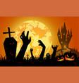 halloween on sunset backgroundfull moon vector image vector image
