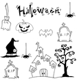 Halloween set castle hat pumpkins tomb vector image vector image