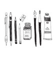 hand drawn art tools and supplies set vector image