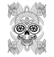 Hand drawn artistic Skull in flowers for adult vector image vector image