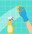 hands in green gloves with spray and sponge wash vector image vector image