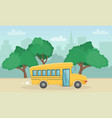 horizontal landscape with yellow school bus vector image vector image