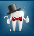 human tooth in a hat with a cane and a bow tie vector image vector image