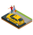 isometric concept taxi car traveling people vector image vector image