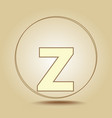 letter z lowercase round golden icon on light vector image vector image