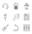 music icons set outline style vector image vector image