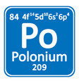 periodic table element polonium icon vector image vector image