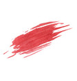 red paint smudge texture on white background vector image