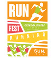 run fest colorful poster template for sport event vector image