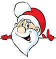 Santa Claus peeking around a white background vector image vector image