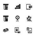 set of 9 editable banking icons includes symbols vector image vector image