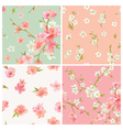 Set of Spring Blossom Flowers Background vector image vector image