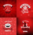 set retro happy halloween badges design element vector image