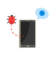 smatphone and red bug cybersecurity cartoon vector image