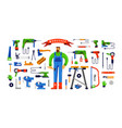 stock workshop tool kit and worker vector image