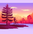 traveler rides bicycle in forest mountain vector image