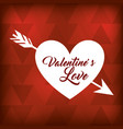 valentines love white heart arrow on red bastract vector image vector image