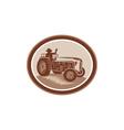 Vintage Farm Tractor Driver Waving Circle Retro vector image vector image