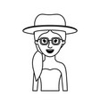 woman half body with hat and glasses and strapless vector image vector image
