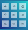 year icons line style set with lights garland vector image