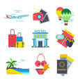 travel time icon set in flat style signs vector image