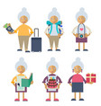 an old woman performing different actions vector image
