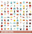 100 xmas icons set flat style vector image vector image