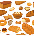 bakery products buns and bread seamless pattern vector image vector image