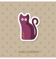 Black cat icon Halloween sticker vector image