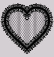 black lace heart ornate element for design of vector image
