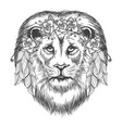 boho style sketch lion with flowers vector image