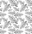 Branch with leaves Seamless Pattern on white vector image