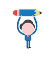businessman character holding up pencil vector image vector image