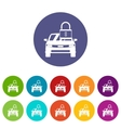 Car with padlock set icons vector image vector image
