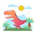 cartoon tyrannosaurus rex dinosaur vector image vector image