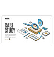 case study isometric banner information research vector image