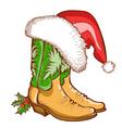 Christmas Cowboy boots and Santa hat vector image vector image