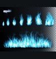 collection blue transparent fire flames vector image